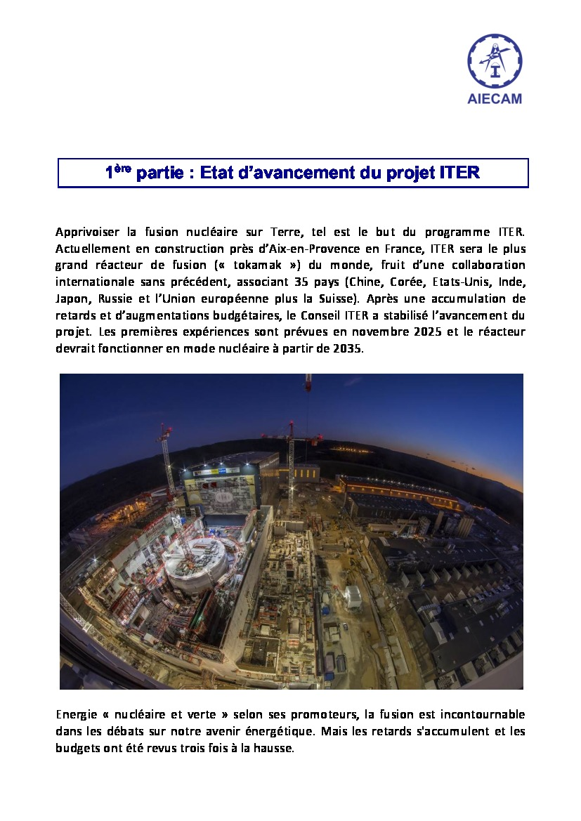 Conférence AIECAM - ITER & big Science