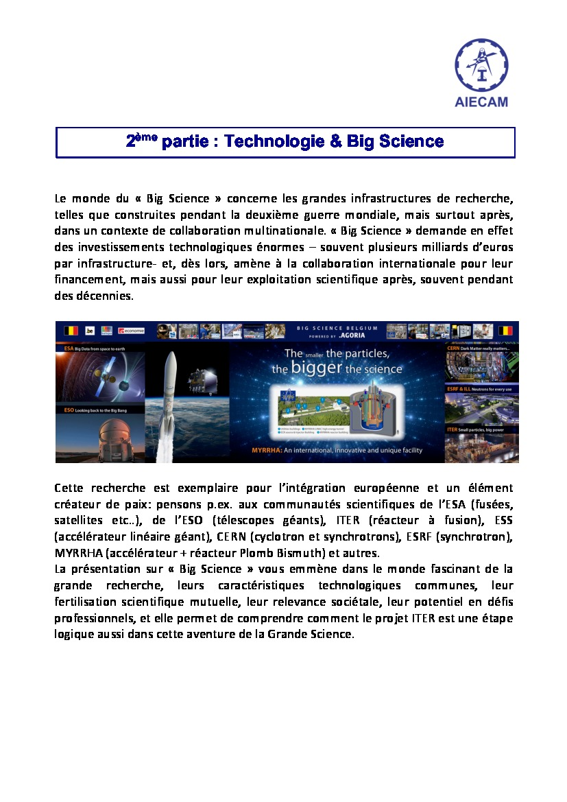 Conférence AIECAM - ITER & big Science