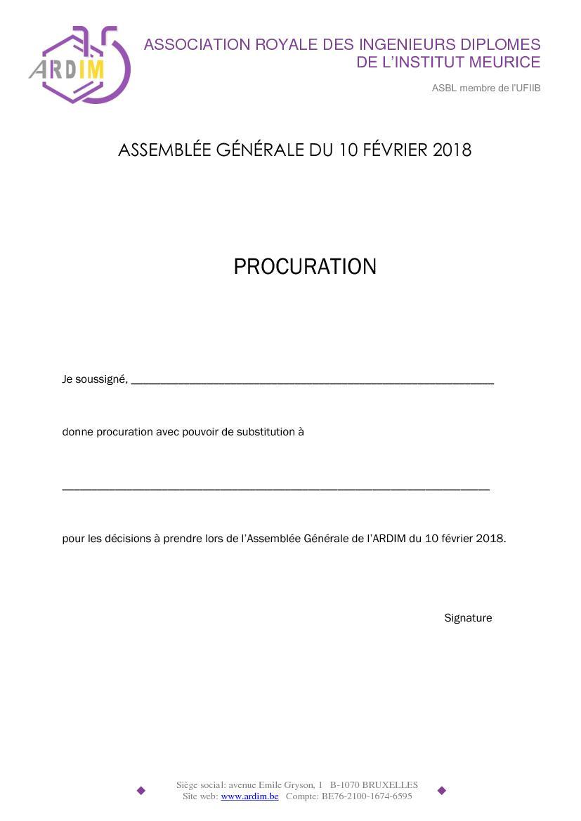 Assemblée Générale du 10/02/18